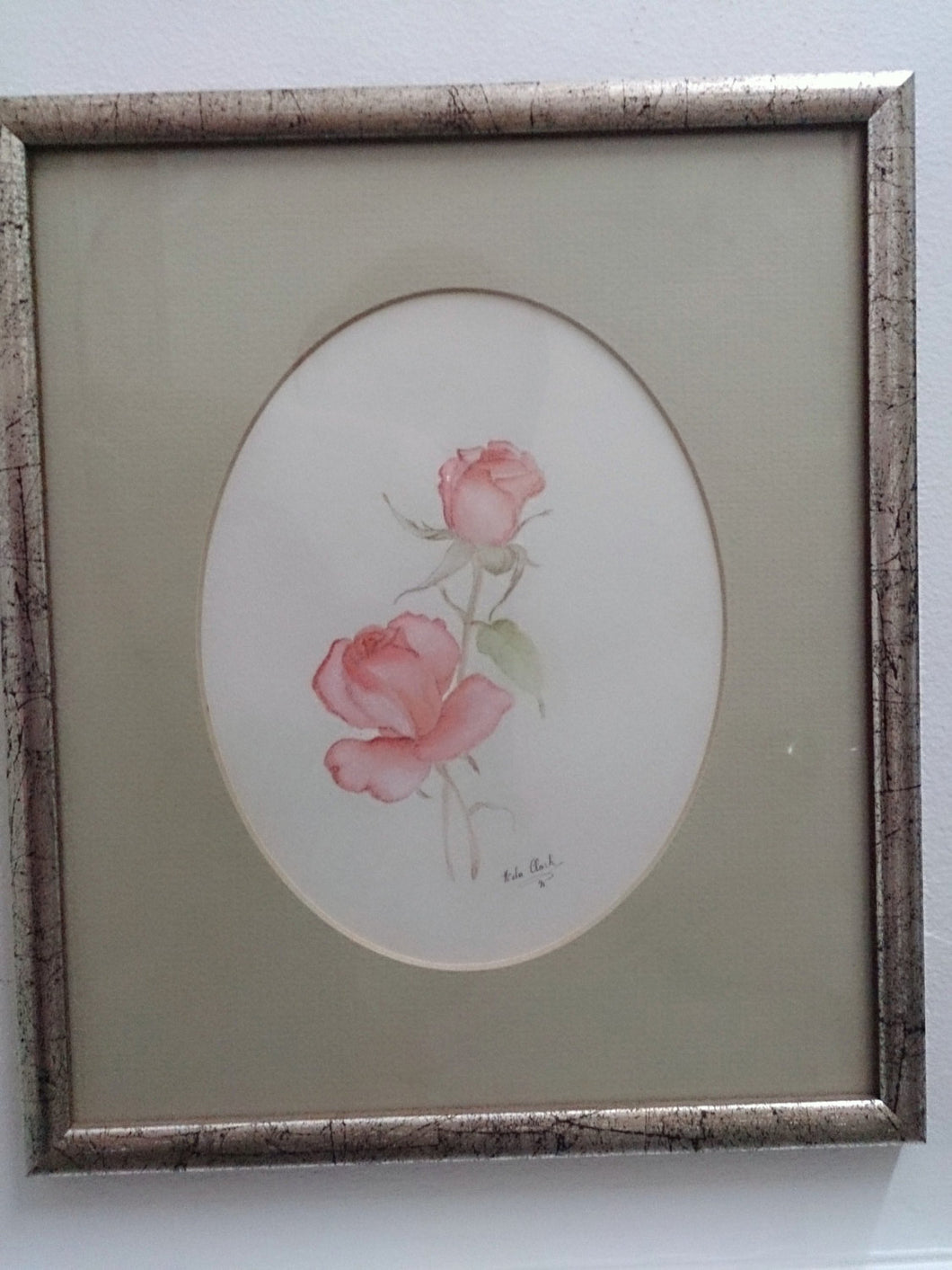 A Set Of 2 Framed Original Nola Clark (signed) Pastels. Watercolour and Pencil Paintings Still Life Roses