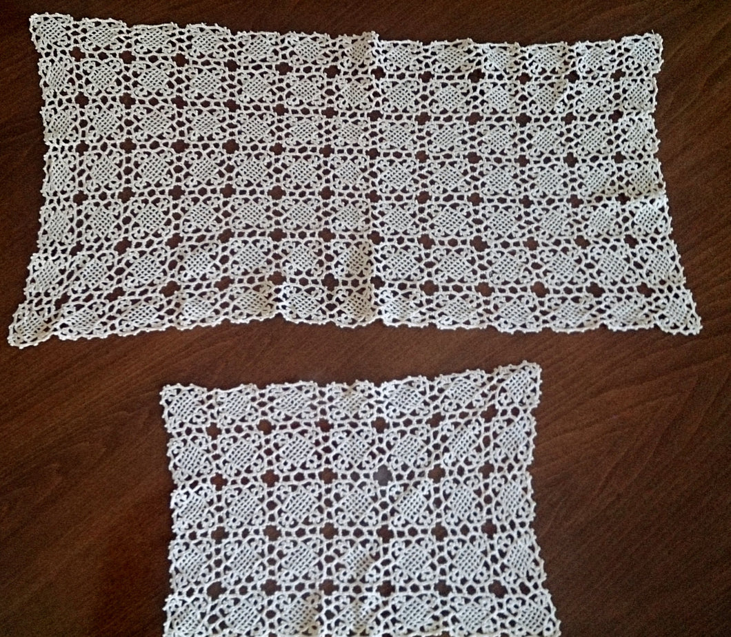 Set of 2 Vintage Venetian Crochet lace Table Runners in Ecru Colour