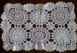 Large Vintage Crocheted Ivory Colour Doily