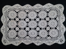 Load image into Gallery viewer, Vintage Crocheted Cotton Lace Ivory Coloured Table Mat or Large Oblong Doily