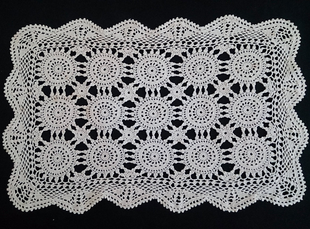 Vintage Crocheted Cotton Lace Ivory Coloured Table Mat or Large Oblong Doily