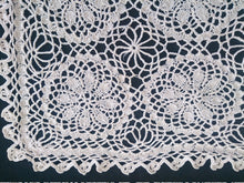 Load image into Gallery viewer, Knitted And Crocheted Cotton Lace Vintage Doily. Ecru Knitted Lace Rectangular Doily