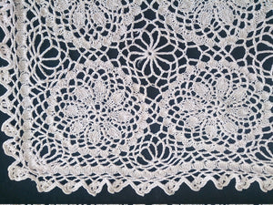Knitted And Crocheted Cotton Lace Vintage Doily. Ecru Knitted Lace Rectangular Doily
