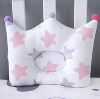 Baby Pillow for Newborn Soft Breathable for Sleeping for Flat Head Syndrome (Pink Grey Star)