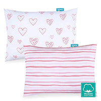 "Kid Toddler Pillowcase 2 Pack, 100% Jersey Cotton Ultra Soft Baby Kids Pillow for Sleeping Fit Pillow Sized 13""x 18"" or 14""x19"", Pink Envelope Style Travel Pillowcase for Girls Boys"