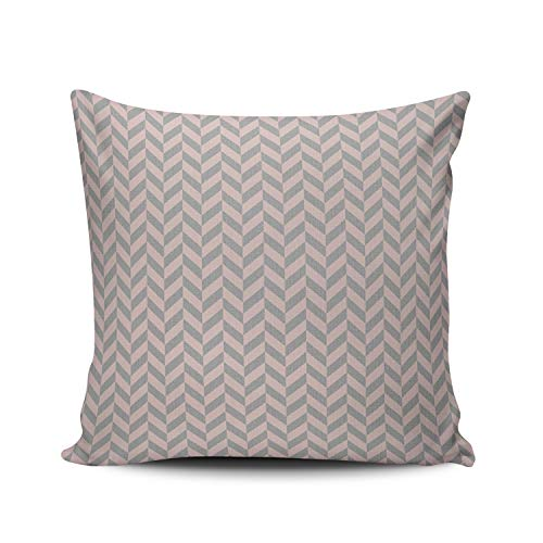 ONGING Decorative Pillowcases White Herringbone Chevron Gray Customizable Cushion Rectangle Boudoir Size 12x16 inch Throw Pillow Cover Case Hidden Zipper One Side Design Printed