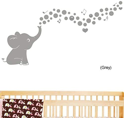 One Lucky Elephant Family Wall Decal with Hearts Music Quote Art Baby Nursery Wall Decor (Grey)