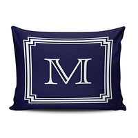 ONGING Decorative Pillowcases White Notched Corner Frame Navy Blue Background Monogram Customizable Cushion Rectangle Boudoir Size 12x16 inch Throw Pillow Case Hidden Zipper One Side Design Printed