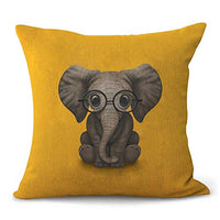 Aremetop Lovely Animals Elephant Baby Wearing Glasses Cotton Linen Home Decor Pillowcase Throw Pillow Cushion Cover with Green Background 18 x 18 Inches for Baby' Room,Crib,Kindergarten (Elephant)