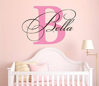 "Nursery Custom Name and Initial Wall Decal Sticker 36"" W by 26"" H, Girl Name Wall Decal, Girls Name, Wall Decor, Personalized, Girls Name Decor, Nursery Bedroom Baby Decor Plus Free Hello Door Decal"