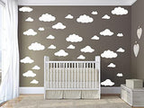 31 pcs Mix Size 4-10 inch White Clouds Wall Decal Sticker for Kids Bedroom Decor -DIY Home Decor Vinyl Clouds Mural Baby Nursery Room Wallpaper Art Wall Decoration Poster YYU-14 (White)