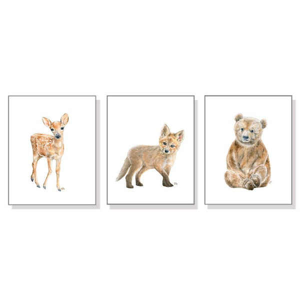 Woodland Nursery Decor, Woodland Nursery Wall Art Prints Set of 3, Baby Animal Watercolors, Childrens Room Girls Boys, Forest Bear Deer Fox