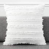 AmHoo Pack of 2 Cotton Linen Tassel Throw Pillow Covers Boho Home Decorative Square Pillowcases Soft Cushion Cover with SBS Hidden Zipper,20x20 inches,White