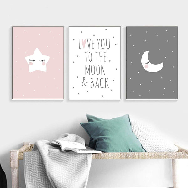 "UrbanStyle Boutique Premium Nursery Modern Art Canvas Prints (Set of 3-UNFRAMED) 12"" x 16""-Boy Girl Kid's Room Decor Moon Star Love You to The Moon and Back"