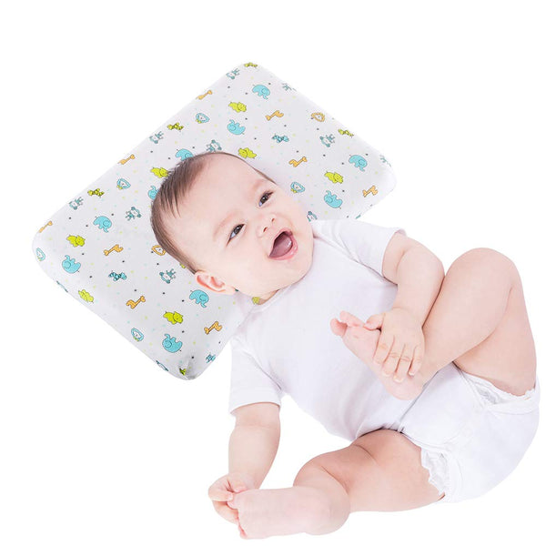 Flat Head Baby Pillow, Memory Foam Baby Pillow for Newborn Prevent Flat Head, Toodler Pillow for 0-2T Unisex Baby with Anti-Mite Water&Dust Proof Washable Inner Cover and 100% Cotton Pillowcase