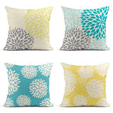 Tarolo Decorative Linen Throw Pillow Covers Cases Set of 4 Yellow and Gray Pastel Blue and Gray Trendy White Floral Teal Turquoise Aqua Blue Lemon Yellow Floral Dahlia Pillow Cover Case 16x16 inches