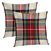 Batmerry Gingham Pillow Covers 18x18 Inch Set of 2, Tile Plaid Plaid Check Tartan Blue Classic Gingham Gray Preppy Double Sided Decorative Pillows Cases Throw Pillows Covers