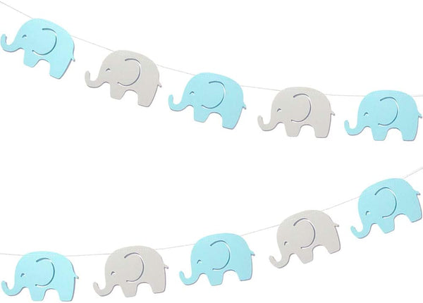 10 Feet Blue Elephant Garland Baby Shower Decorations Baby Boy Elephant New Years Banner Decorations Birthday Party New Years Supplies Baby Nursery Decorations Blue Gray Elephant 4 Inches 17 Pieces