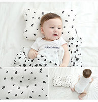 Baby Pillow for Sleeping | Organic Cotton Hypoallergenic | Prevent Flat Head for Newborn | Breathable Washable with Neck Support | Include Baby Gift 2 Colorful Bibs