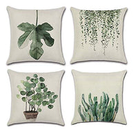 Monkeysell Pack of 4 Lotus Leaf Butterfly Flowers Pattern Cotton Linen Throw Pillow Case Boho Floral Printed Pillow Cushion Cover Home Sofa Decorative 18 X 18 Inch (Cushion Cover)