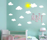 Sun and Clouds Wall Decals Wall Stickers Peel White Clouds Sky Wall Decals Easy to Apply and Removable Baby Nursery Room Wall Decor