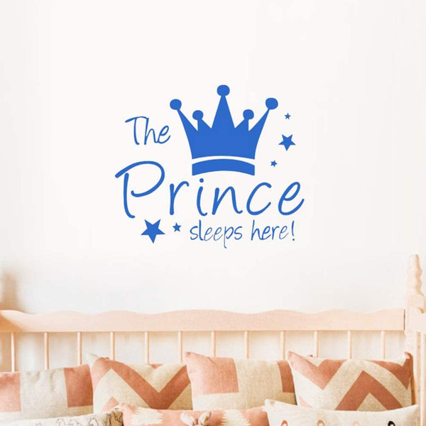 MASCARE Crown Star Wall Decal Prince Sleep Here Wall Sticker Wall Art Decor for Kids Bedroom Baby Nursery Removable Home Background Decoration