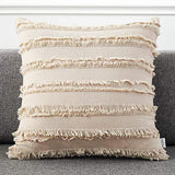 AmHoo Pack of 2 Cotton Linen Tassel Throw Pillow Covers Boho Home Decorative Square Pillowcases Soft Cushion Cover with SBS Hidden Zipper,18x18 inches,Khaki