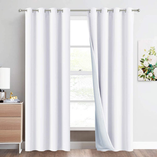 NICETOWN 100% Blackout Window Curtains, Cold, Heat and Full Light Blocking Drapes with Felt Fabric Lining for Nursery, 84 inches Thermal Insulated Draperies (White, 2 PCs, 52 inches Wide Each Panel)