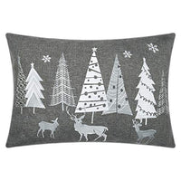 JWH Christmas Accent Pillow Case Trees Embroidery Cushion Cover Deocrative Sham Home Bed Living Room Shell Festival Gift 14 x 20 Inch Light Gray White