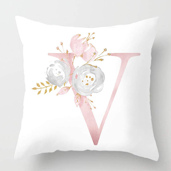 vctops Flowers Printed Throw Pillow Covers Alphabet Decorative Pillow Cases ABC Letter Cushion Covers 18 X 18 Inch Square Pillow Protectors for Sofa Couch Bedroom White R
