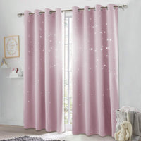 NICETOWN Curtains for Kids Room Girl - Hollow Star Blackout Drape Panel Window Treatment Drapery for Space Theme Room (Lavender Pink=Baby Pink, Sold as 1 PC, 52 inches x 84 inches)