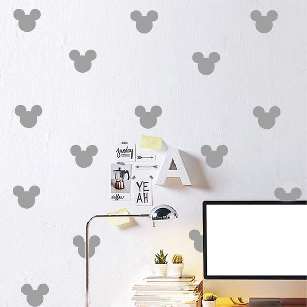 24PCS Cartoon Mickey Mouse Head Wall Sticker Baby Nursery Cute Animal Wall Decal Children Room, Wall Art Easy Removable (Grey, Vinyl PVC Material)
