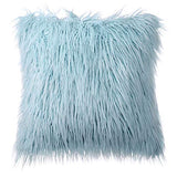 Phantoscope Luxury Series Throw Pillow Covers Faux Fur Mongolian Style Plush Cushion Case for Couch Bed and Chair, Light Blue 18 x 18 inches 45 x 45 cm