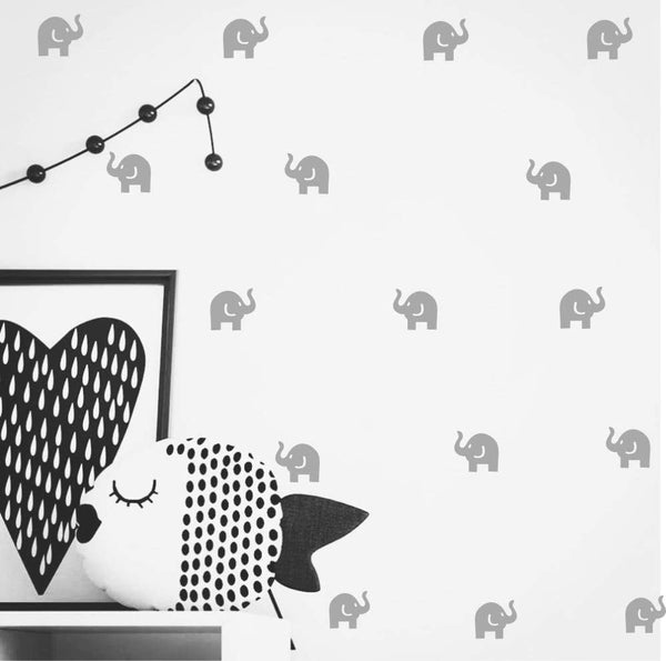 Cute Elephant Decal -36 Set Elephant Wall Decor Stickers for Kids Bedroom- Art Vinyl Removable Nursery Room Wall Decals (Light Gray)