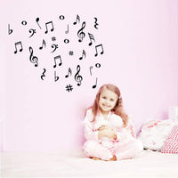 Fymural Musical Note Wall Decals Music Sign Letter Wall Stickers Quote Removable Vinyl for Kid Baby Nursery Classroom DIY Decoration Home Decor,Black
