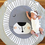 INFILM Kids Rug for Boys and Girls - Animal Print Round Soft Children Area Rug Baby Floor Play mats for Bedroom Kids Rooms Living Room Playroom (Lion)