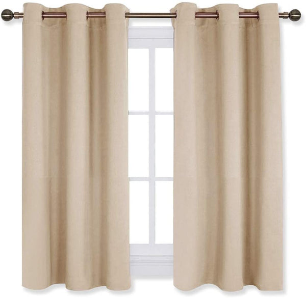 NICETOWN Room Darkening Curtain Panels for Living Room, Thermal Insulated Grommet Room Darkening Draperies/Drapes for Window (Biscotti Beige, 2 Panels, W42 x L45 -Inch)