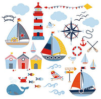 Sail Away Nursery Kids Room Decorative Peel & Stick Wall Art Sticker Decals for Babies Infants Toddlers