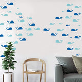 Easma Whale Wall Decal Fish Wall Decal 60 Whales Sticker Kids Room Wall Decal Home Decor Nursery Wall Decal Gift Ocean Decals-80pcs