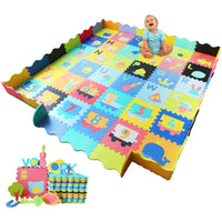Baby Foam Play Mat with Fence - Interlocking Alphabet Crawling Mat with 36 Foam Floor Tiles
