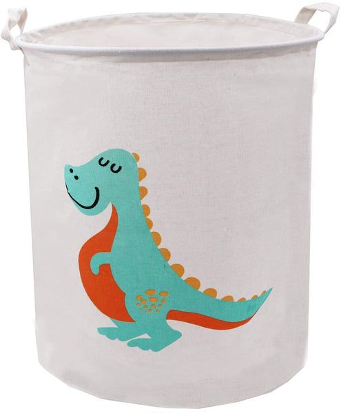 ZUEXT 19.7 Inch Large Folding Laundry Hamper,Waterproof Laundry Basket Handles Cotton Canvas Bucket Cylindric Burlap Canvas Storage Basket,Dinosaur Gift Baskets for Bedroom Baby Nursery(Dinosaurs07)