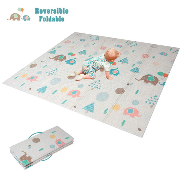 HAN-MM Baby Folding Mat Baby Playmat Foam Floor Slip Extra Large Foam Reversible Waterproof Portable Double Sides Kids Baby Toddler Outdoor or Indoor Use Non Toxic(77x69x0.4in) Elephant