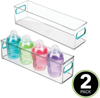 "mDesign Slim Storage Organizer Container Bin with Handles for Kids Supplies in Kitchen, Pantry, Nursery, Bedroom, Playroom - Holds Snacks, Bottles, Baby Food - BPA Free, 4"" Wide, 2 Pack - Clear/Blue"