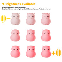 Mothermed Owl Night Light for Kids Baby Silcone Night Light LED Nursery Lamp Dimmable Baby Night Light with Touch Sensor Remote Control Rechargeable 9 Colors Change Night Light for Children