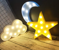 Decorative LED Crescent Moon Cloud and Star Night Lights Lamps Marquee Signs Letters for Baby Nursery Decorations Gifts for Children (Moon Cloud and Star)