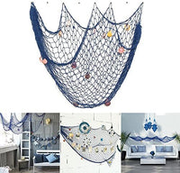 Nature Fish Net Wall Decoration with Shells, Ocean Themed Wall Hangings Fishing Net Party Decor for Pirate Party,Wedding,Photographing Decoration ¡­ (Fishnet-2pack-beBEbl)