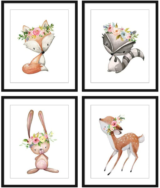Bestbuddy Pet Set of 4 (8X10) Unframed Woodland Animals Fox Raccoon Bunny Deer with Flowers Crown Nursery Art Prints Kids Baby Girl Room Wall Decor BBPAP009