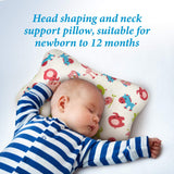 CleverHomes Baby Pillow Head Shaping and Neck Support Pillow for Newborn to 12 Months - Prevent Flat Head Syndrome - 3D Air Mesh Breathable Pillow with Organic Cotton Filling
