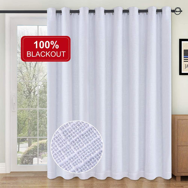 Primitive Linen Look, Patio Door Curtains Thermal Insulated Liner 100% Blackout Curtains, Burlap Curtains Sliding Glass Door Curtains-1 Panel, 100x96 White