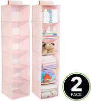 mDesign Soft Fabric Over Closet Rod Hanging Storage Organizer with 6 Shelves for Child/Kids Room or Nursery - Polka Dot Pattern - 2 Pack - Light Pink with White Dots